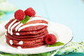 Stack Of Red Velvet Pancakes Stock Image - 28618461
