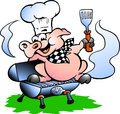 Vector Illustration Of An Chef Pig Standing On A BBQ Barrel Stock Images - 28622564