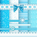 Collection For Scrapbook. Patterns Blue 1. Stock Image - 28637651