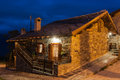 Typical Village House In The Province Of Aosta Valley In Italy Photographed At Night Royalty Free Stock Photo - 28640175