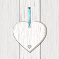 Wooden Heart Sign On White Wood Royalty Free Stock Photography - 28640467