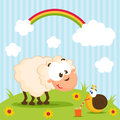 Sheep And Snail Vector Stock Images - 28643854