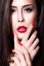 Red Lips And Nails Royalty Free Stock Photo - 28645605
