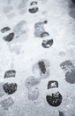 Footsteps In Wet Snow On Asphalt Road Royalty Free Stock Image - 28646536