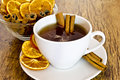 Cup Of Orange Tea With Cinnamon Royalty Free Stock Image - 28648476