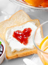 Strawberry Jam And Cream On Bread Stock Images - 28651884