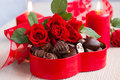 Roses  And Chocolate Candies For Valentine S Day Stock Photos - 28652813