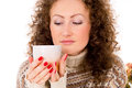 Portrait Of A Girl In A Sweater And A Mug Stock Photos - 28658133