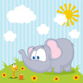 Elephant And Worm Vector Royalty Free Stock Photo - 28663445