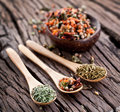 Variety Of Spices In The Spoons. Royalty Free Stock Photos - 28679798