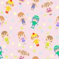 Vector Seamless Background With Kids Royalty Free Stock Photography - 28681687