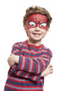 Young Boy With Face Painting Spiderman Stock Images - 28691924