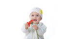 Baby Girl  With Red Flower Stock Photography - 28694832