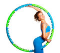 Slim Young Woman With Hula Hoop Royalty Free Stock Images - 28695189