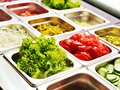 Tray With  Food  On Showcase At Cafeteria Stock Images - 28696214