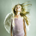 Beautiful Happy Girl With Angel Wings Stock Images - 28699344