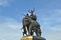 The Elephant Statue In The Blue Sky,Monument Of King Naresuan At Suphanburi Province In Thailand Royalty Free Stock Photography - 28701867