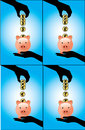 A Hand Saving Different Currency Coins Into A Pigg Stock Image - 28703671