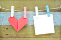 Paper Heart Hanging On The Clothesline. On Old Wood Background. Royalty Free Stock Photos - 28712248