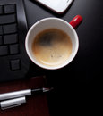 Cup Of Coffee And Business Objects On The Table Royalty Free Stock Image - 28718406