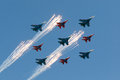Russian Air Force 5 Sukhoi Su 27 Russian Knights And 4 Mikoyan MiG 29 Strizhi Stock Photography - 28733462