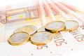 Euro Coins On 50-euro Banknotes Royalty Free Stock Photo - 28746445