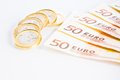 Crisis Of Eurozone, Euro Coins On 50-euro Banknotes Stock Images - 28749054