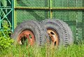 Old Industrial Truck Wheel On Wasteland Stock Image - 28751141