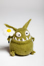 Felted Toy Mosters With Flower Stock Image - 28777271