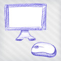 Hand Drawn Monitor With Mouse Royalty Free Stock Images - 28781189