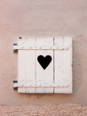 Closed White Old Shutters With Heart Shape (11) Stock Photography - 28786292