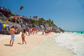 People Enjoying In Tulum Beach Stock Photos - 28797813