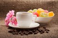 Flowers, Coffee And Sweets. Royalty Free Stock Photography - 28805807
