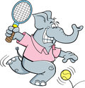 Cartoon Elephant Playing Tennis Royalty Free Stock Photos - 28808718