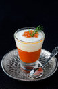 Appetizer In A Glass Goblet Of Sweet Pepper, Cream And Red Cavia Stock Image - 28818301