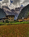 Tibetan Houses With Mountain In Background Royalty Free Stock Photography - 28818907