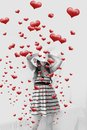 Women And Hearts Coming Out Royalty Free Stock Photo - 28824645