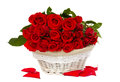 Bunch Of Red Roses In Basket Royalty Free Stock Photo - 28839125