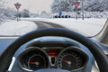 Driving A Car In The Snow Royalty Free Stock Photo - 28841125