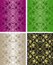 Seamless Floral Wallpapers - Set Of Four Colors. Royalty Free Stock Images - 28842789