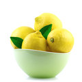 Lemon In Green Bowl  On White Stock Image - 28847831