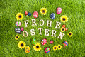 Frohe Ostern Eggs On Grass Royalty Free Stock Images - 28849659