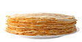 Pile Of Pancakes On The Plate (isolated Object) Royalty Free Stock Photos - 28849768