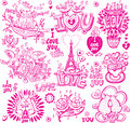 Set Of  Love Sketchy Royalty Free Stock Photography - 28860817