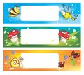 Spring Banners With Funny Insects Royalty Free Stock Photo - 28865365