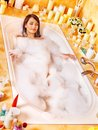 Woman Relaxing At  Bubble Bath. Royalty Free Stock Photo - 28880545