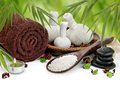 Massage Border With Towel, Spa Balls And Bamboo Royalty Free Stock Images - 28880719