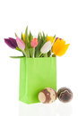 Shopping Bag Colorful Tulips With Easter Eggs Royalty Free Stock Photography - 28885197
