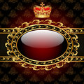 Background With A Gold Crown And A Circle Of Glass Stock Photos - 28899283