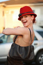 Beautiful Woman In Red Hat Stock Photos - 2891623